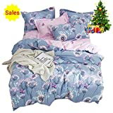 Pink and Purple Duvet Covers OTOB Purple Pink Floral Queen Duvet Cover Reversible Set with 2 Pillow Shams Cotton for Kids Teen Cartoon Butterfly Dandelion Pattern, 3 Piece Fairy Kids Girls Bedding Sets Full Size