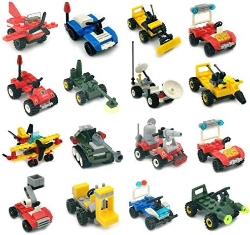 Mini Buildable Vehicles Set of 16,Building Block Car for Party Supplies,Birthday Favors,Goodie Bags,Toy Gifts