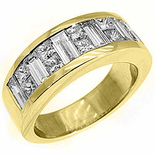 18k Yellow Gold Mens Invisible Set Princess & Baguette Diamond Ring 3.50 Carats