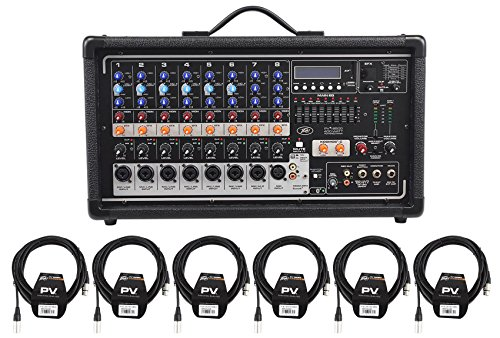 Package: Peavey Pvi8500 400 Watt Eight Channel Powered Live Sound Mixer With Bluetooth, Nine Band Graphic EQ, Phantom Power And Dual Power Amplifiers + (6) PV 20' XLR Female to Male Low Z Mic Cables 8 Channel Powered Mixer Peavey