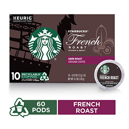 Starbucks French Roast Dark Roast Single Cup Coffee for Keurig Brewers, 6 Boxes of 10 (60 Total K-Cup Pods) (Roast Starbucks French Extra Bold)