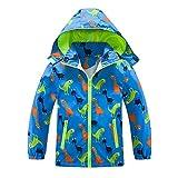 Boys Girls Rain Jacket, Outdoor Lightweight Dinosaur Raincoats Kids Detachable Hooded Jacket with Mesh Liner (Blue, 6)