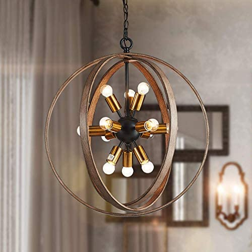 Saint Mossi Oaky Wood Painted Metal and Warm Brass Finish Orb Chandelier 12 Lights 24 inch Wide Chandelier Lighting