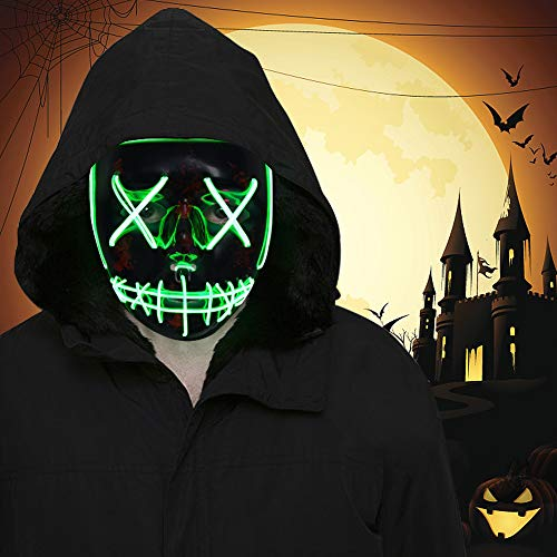 Halloween 3 Mask Scene (FLY2SKY Halloween Mask Light Up Toys 2PCS Green LED Light Up Mask LED Mask Glowing Mask Frightening Luminous Halloween Cosplay LED Purge Mask for Festival Entertainment Halloween Party Favors for)