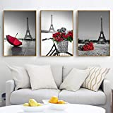 Cindere 3Pcs 7.9 x 11.8inch Canvas Wall Art Frameless Colorful Painting Eiffel Tower Printed Oil Painting Home Decorations