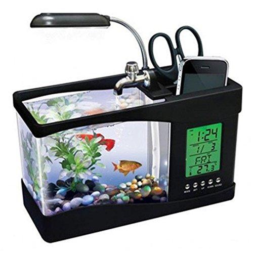 CreazyBee Mini USB LCD Desktop Lamp Light Fish Tank Aquarium LED Clock (Black)