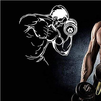 Yirenfeng Nombre Del Gimnasio Etiqueta De Fitness Mancuerna Muscular Calcomanía Body-Building Posters Vinilo Tatuajes