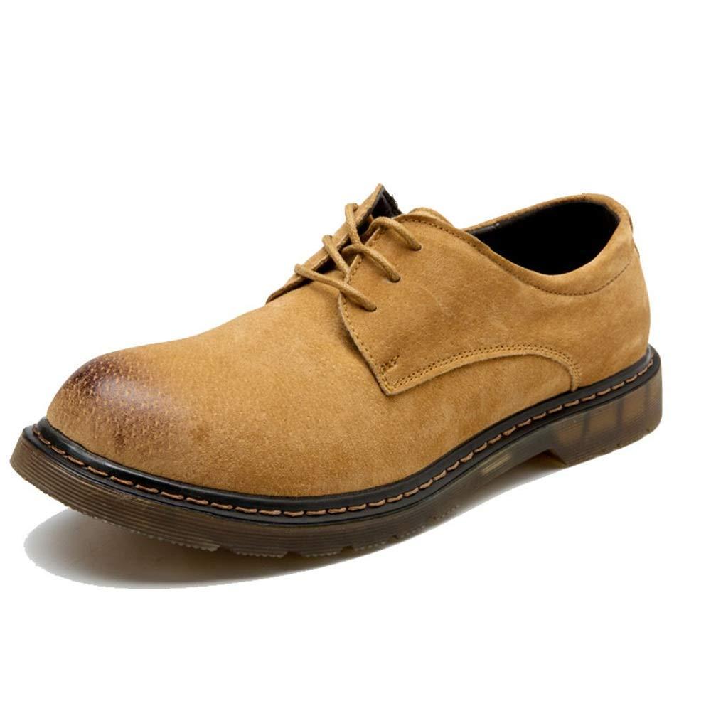 gul Fuxitogo herrar modeable Ankle stövlar, Casual OX läder Lace Lace Lace Uppe Round Toe Work skor (Färg  bspringaaa, Storlek  35 EU) (Färg  Svart, Storlek  46 EU)  mode