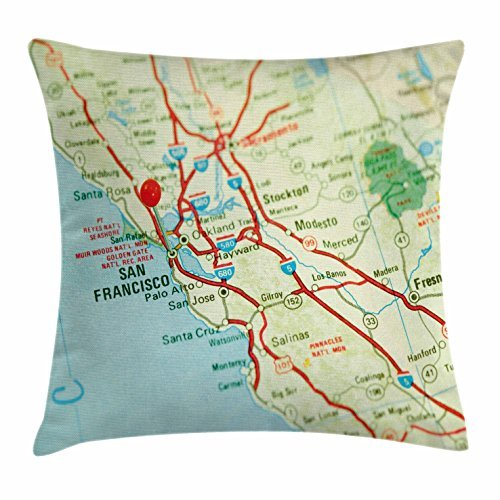 TINA-R Map Throw Pillow Cushion Cover, Vintage Map of San Francisco Bay Area with Red Pin City Travel Location, Decorative Square Pillow Case, 18 X 18 Inches, Light Blue Pale (Halloween Stores Bay Area)