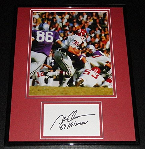 Steve Owens Signed Photograph - Framed 11x14 Display Heisman - Autographed College Photos -
