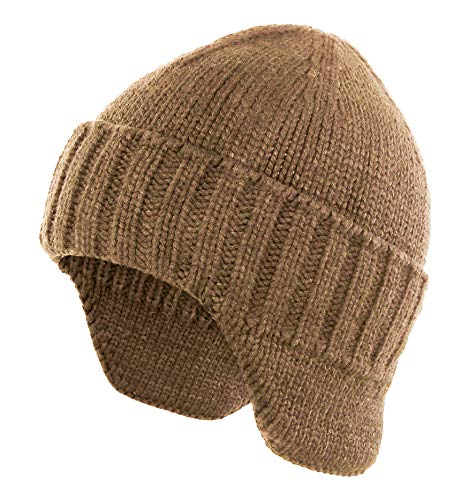 Home Prefer Mens Winter Hat Knit Earflap Hat Stocking Caps with Ears Warm Hat (Khaki)