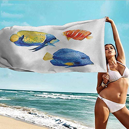 Home Towels,Fish Tropical Aquarium Life Discus Fish and Goldfish in Different Patterns,Soft Fast Drying Travel Gym Washcloths,W55x27L, Azure Blue Yellow Scarlet (Hudson Countertop)