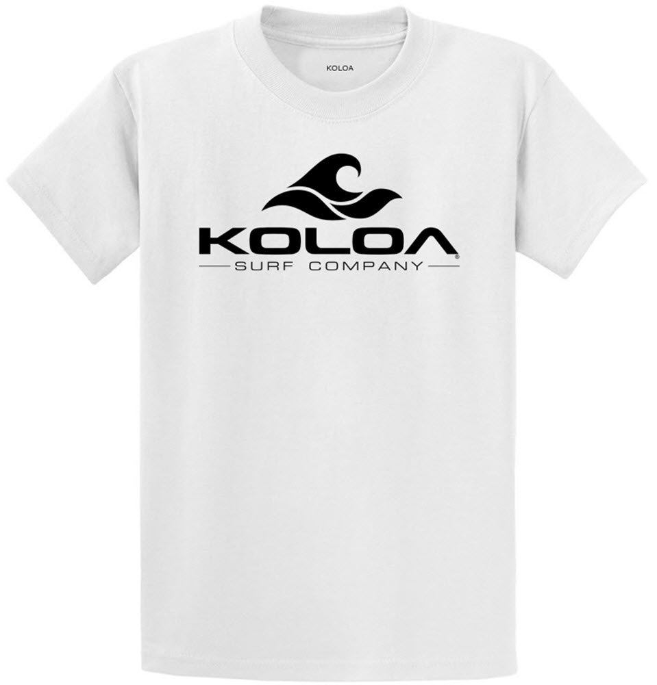 Joe's USA Koloa Surf カスタムグラフィック重量系コットンTシャツ レギュラー、ビッグ、トール B071P2VPQD Regular 6X-Large (61-63),White With Classic Koloa Wave Logo