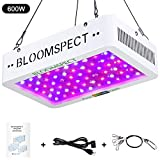 BLOOMSPECT 600W LED Grow Light for Indoor Greenhouse Hydroponic Plants Veg Bloom Switches Daisy Chain