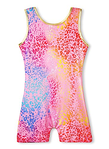 Gymnastics Leotards for Girls Biketard Pink Size 7-8 Years old 7/8 Leopard Print (Pink Gymnastics Leotard For Girls)