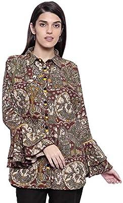 The Kaftan Company Brown Cotton Long Sleeve Shirt Collar Ethnic Motifs Shirt Style Top for Women