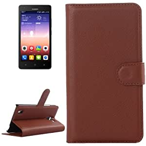 Litchi Texture Horizontal Flip Leather Case with Card Slots & Wallet & Holder for Huawei Ascend G628 (Brown)