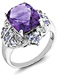 ICE CARATS 925 Sterling Silver Purple Amethyst Blue Tanzanite Diamond Band Ring Size 6.00 Stone Gemstone Fine Jewelry Gift Set For Women Heart