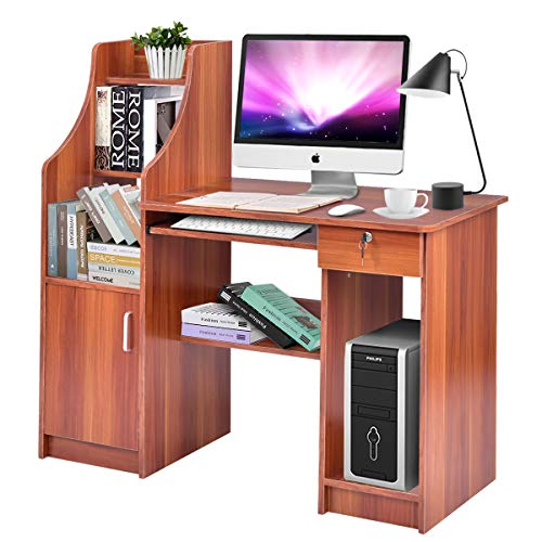 Tangkula Computer Desk, Wood Frame Home Office Efficient Desk, with Sliding Keyboard Tray Lockable Drawer Bookshelf Storage CPU Cabinet, Study Writing Table
