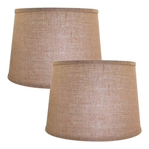 Double Medium Brwon Lamp Shades Set of 2, Alucset Drum Fabric Lampshades for Table Lamp and Floor Light,10x12x8 inch,Natural Linen Hand Crafted,Spider (Brown, 2 pcs Pack)