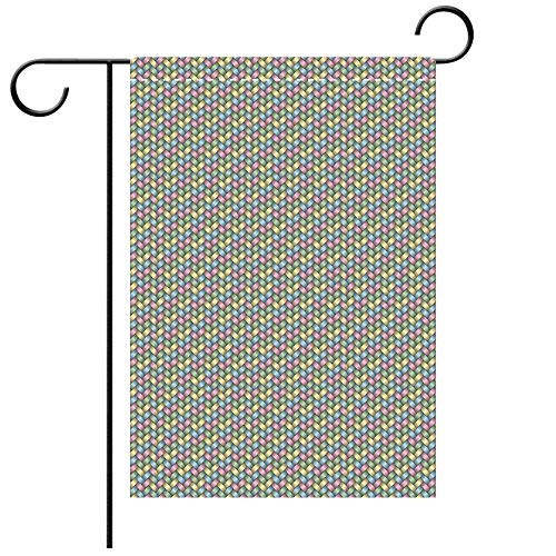 Double Sided Premium Garden Flag Abstract Woven Soft Colored Geometric Stripes Crisscross Pattern Ornate Traditional Design Decorative Decorative Deck, patio, Porch, Balcony Backyard, Garden or Lawn