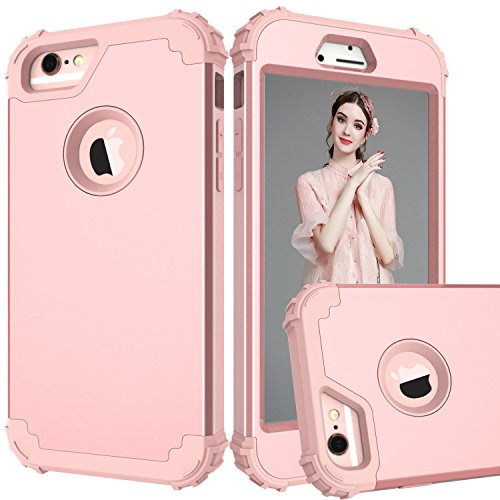 one 6, iPhone 6s Case, 3 in 1 Shockproof Slim Hybrid Hard PC Soft Silicone Rugged Rubber Bumper Full Body Protective Case Cover for iPhone 6/6S (4.7 inch) (Rose Gold) ()
