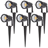 CQD-Light Outdoor Decorative Lamp Lighting 6W COB LED Landscape Garden Wall Yard Path Light Warm Cool White AC/DC 12V Spiked Stand Warm White 2800-3200K (6 Pack)