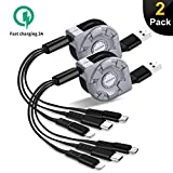 Amuvec 3 in 1 Retractable Charging Cable 3A, [2-Pack 2.7FT] Multi USB Fast Charger Cord with Phone(Data Sync)/Type C/Micro USB Charge Port, Compatible with Tablets/Samsung Galaxy/Google Pixel//LG V20