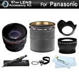 67mm Wide Angle Telephoto Lens Kit For Panasonic Lumix DMC-FZ200, DMC-FZ200K Digital Camera Includes NecessaryTube Adapter + HD .43x Wide Angle Lens + 2.2x Telephoto Lens + Lens Hood + Lens Pen Cleaning Kit + Lens Cap Keeper + MicroFiber Cleaning Cloth