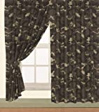 Children's ARMY Kids Pair of 66' Width x 72' Drop CAMOUFLAGE DESIGN CURTAINS With Matching Tie Backs By Viceroybedding