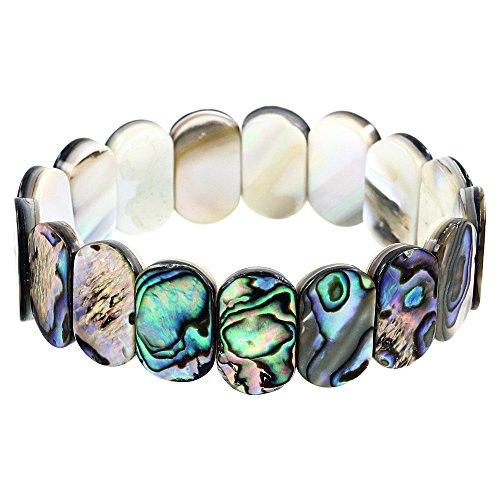Ring Pearl Abalone - Falari Abalone Stretch Elastic Bracelet Round B0550