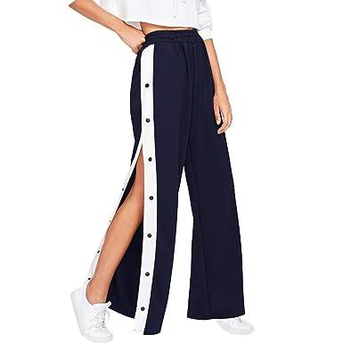 distribuidor mayorista 42aa5 6cbb8 Mujer Cintura Alta Pantalones Largo, Moda Pantalon Sueltos con Botones  Cómodo Cintura Elástica Ancho Pierna Casual Pantalones Tallas Grandes S-XL