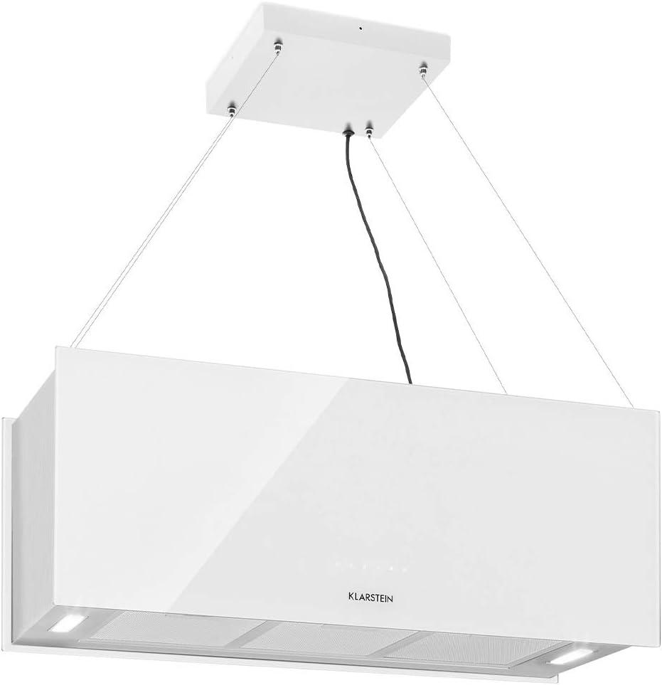 Klarstein Kronleuchter XL Campana extractora en isla - Eficiencia energética clase A, 90 x 35 cm - 60 cm, recirculación en 3 niveles, control táctil, flujo de aire: 590 m³/h, iluminación LED, blanco