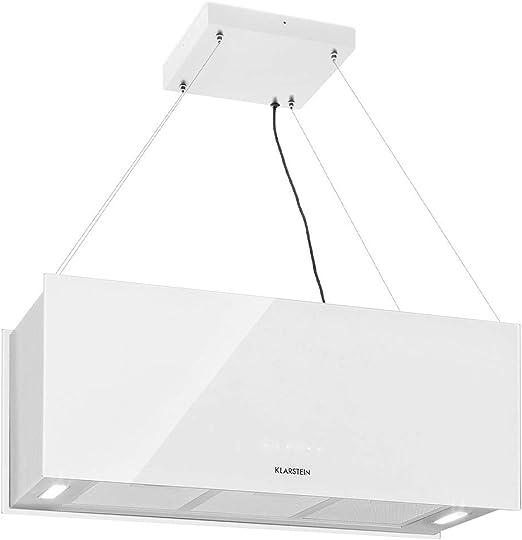 Klarstein Kronleuchter XL Campana extractora en isla - Eficiencia energética clase A, 90 x 35 cm - 60 cm, recirculación en 3 niveles, control táctil, flujo de aire: 590 m³/h, iluminación LED, blanco: Amazon.es: Hogar