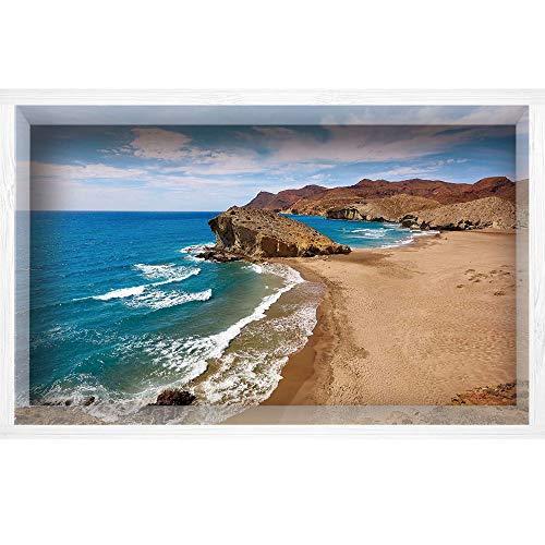 iPrint 3D Depth Illusion White Wood Frame Style Home Decor Art, Vinyl Wall/Floor Decal Sticker,Beach Cabo De Gata Spain Coastal Photo Scenic Summer,35.4