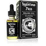 Beard Oil Platinum by Inglorious Fuzz - For Maximum Beard Growth - Vintage Beard Hair & Skin Conditioner - Fragrance Free - Vegan - Better Beards for Better Men