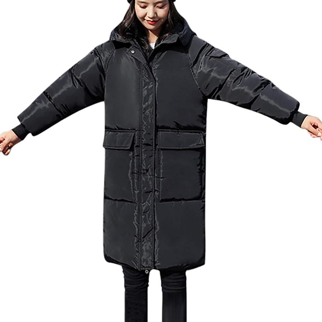 Fashionhe Women Warm Down Jacket Slim Knee Overcoat Length Thick Long Sleeve Top Casual Loose Hoodie Coat(Black.XL) by Fashionhe