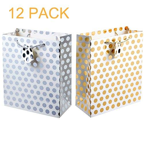 - UNIQOOO 12Pcs Premium Gold Sliver Metallic Polka Dots Gift Bag Bulk,Classic Recyclable,Heavy Duty Kraft Paper Retail Merchandise Shopping Bag,Large 12.5''x10.25x4 Inches, w/Gift Tags,for Wedding