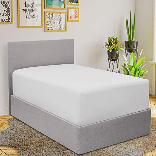Mellanni Extra Deep Pocket Fitted Sheet - 1800 Brushed Microfiber Twin Fitted Sheet Only - Extra Deep Pocket and Elastic All Around - Easily Fits 18-21'' Mattresses (Twin, White)