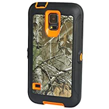 Huaxia Datacom Heavy Duty Hunting Tough Camo Tree Shockproof Dirtproof Defender Case Cover w/ Built-in Screen Protector for Samsung Galaxy S5 SV i9600 - Camo Branch on Orange Core