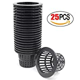 Coolrunner 25 pack 4 inch Garden Net Cups Pots, Plastic Plant Nursery Pots, Slotted Mesh Wide Lip Round HEAVY DUTY Net Pot Bucket Basket for Hydroponics(Black)