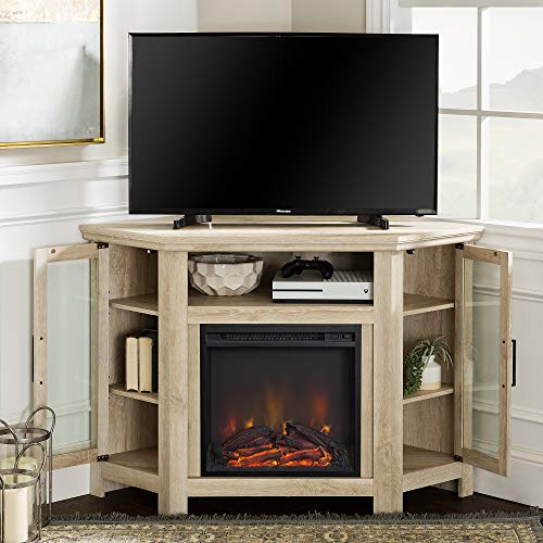 WE Furniture 48 Wood Corner Fireplace Media TV Stand Console - White Oak