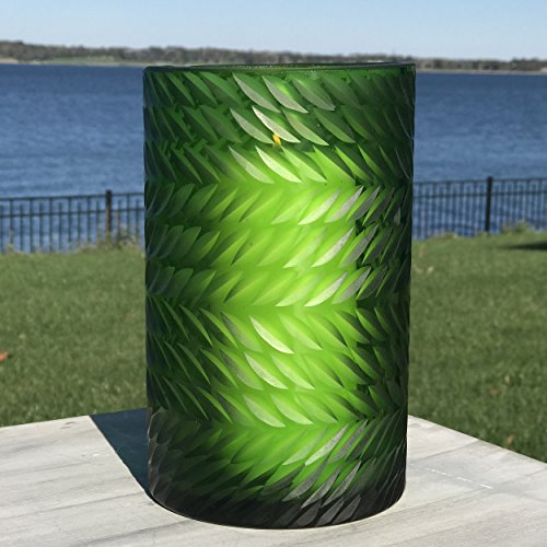 The Naturally Modern Flower Petal Hurricane Candle Holder or Vase, Art Glass, Green, Translucent, Incised Textured Glass, Herringbone Pattern, 8 H Inches Tall, By Whole House (Green Glass Hurricane)