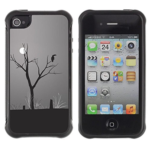 iPhone 4 / iPhone 4S , Moon Parrot Art Drawing Rainforest Climate Change