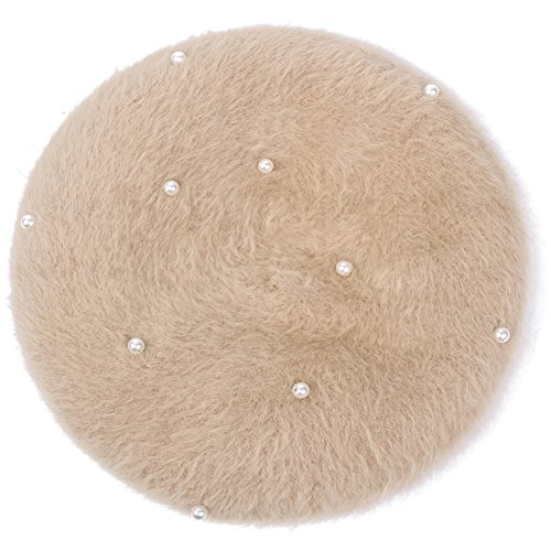 Gold Wool Classic Hat - Lisainthus Women's Soft Angora Pearl French Beret Hat Champagne