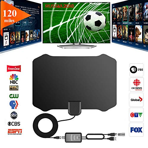 (GreenYellow - Indoor Digital HDTV Amplified Television Antenna Freeview 4K 1080P HD VHF UHF for Local Channels 120 Miles Range with Signal Amplifier Support All TV's-13ft Coax Cable )