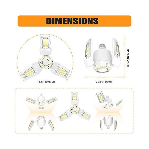 LED Garage Lights 125W Ceiling Lights E26 Deformable Three-Leaf Garage Light 14,000lm Tribright LED Adjustable Light… 5