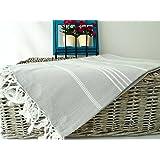 (SET of 3) XL 100% Turkish Cotton Bath Beach Hammam Towel Peshtemal Throw Foua Blanket Set (Silver Grey)
