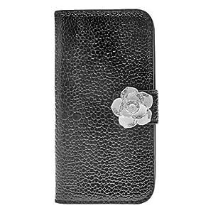 PEACH Noble Rhinestone Camellia Design PU Leather Case for Samsung Galaxy S4 Mini I9190