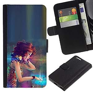 Protector de cuero de la PU de la cubierta del estilo de la carpeta del tirón BY RAYDREAMMM - Apple Iphone 6 PLUS 5.5 - DJ Girl